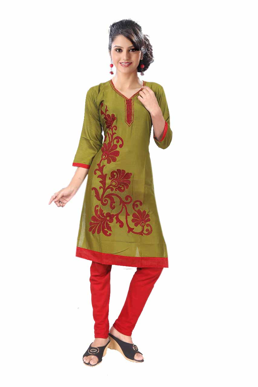 BLUE BIRD D NO 1-MAHENDI Stitched Kurti