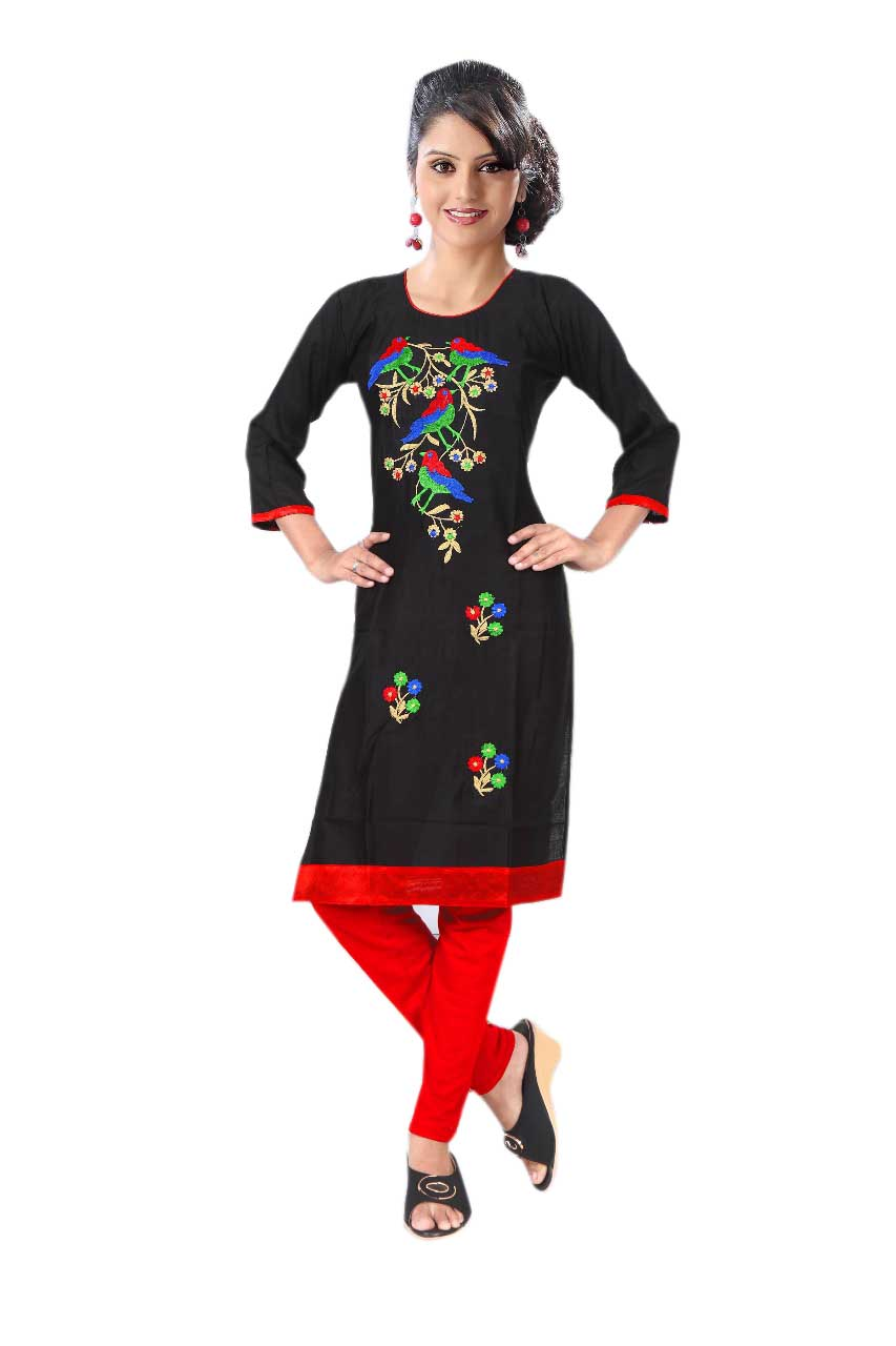 BLUE BIRD D NO 2-BLACK Stitched Kurti