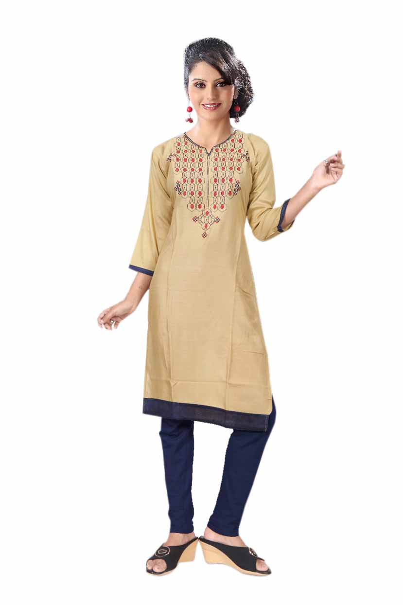 BLUE BIRD D NO 3-BEIGE Stitched Kurti