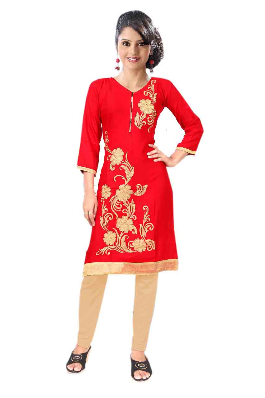 BLUE BIRD D NO 9-RED   Stitched Kurti