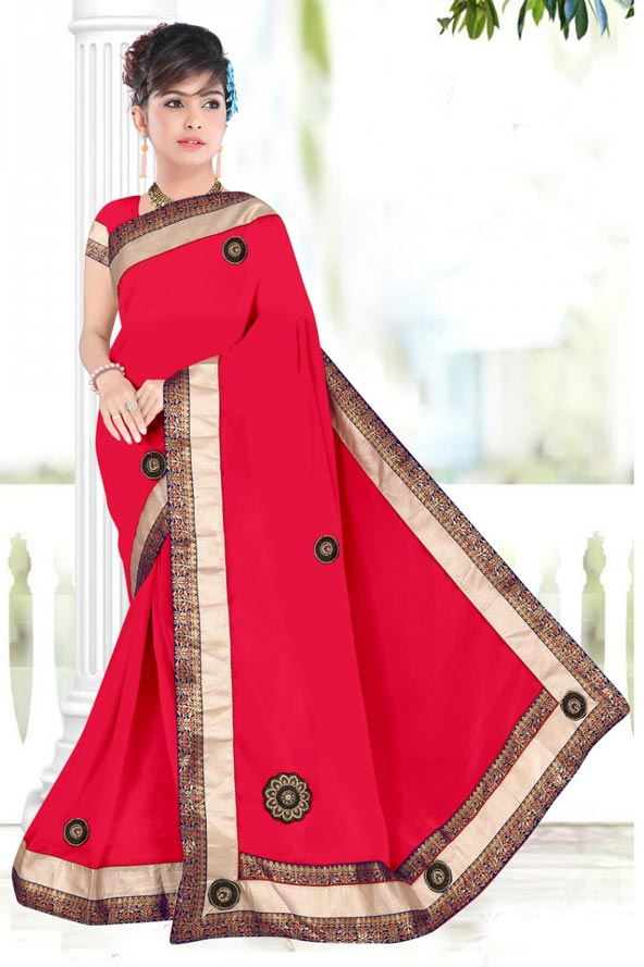 WOMENS SAREE WITH BLOUSE-DARK PINK-WS SEP BOURNVIL 2019