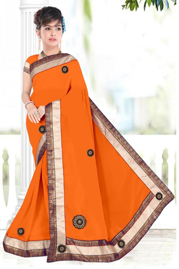 WOMENS SAREE WITH BLOUSE-MUSTURD-WS SEP BOURNVIL 2019