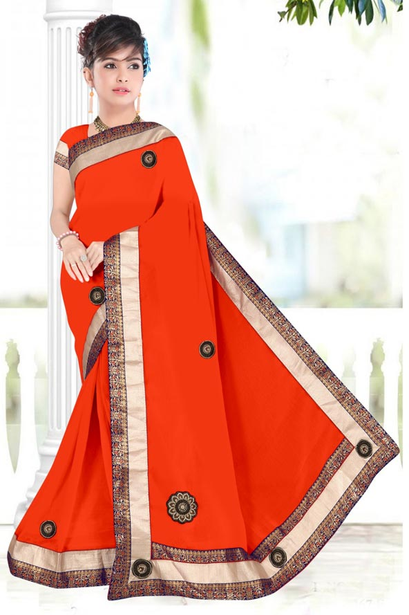 WOMENS SAREE WITH BLOUSE-ORANGE-WS SEP BOURNVIL 2019