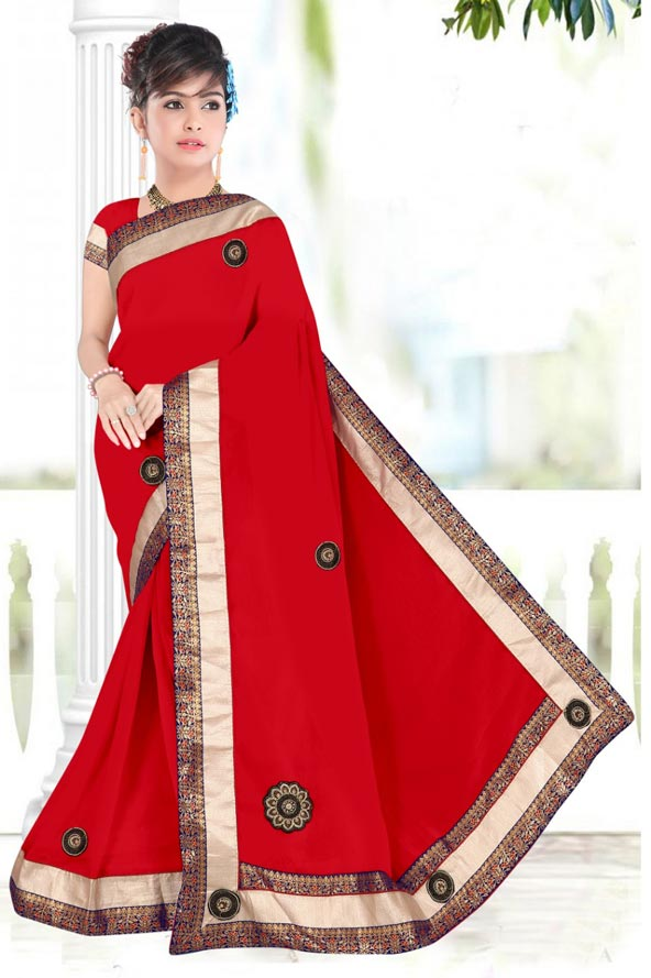 WOMENS SAREE WITH BLOUSE-RED-WS SEP BOURNVIL 2019