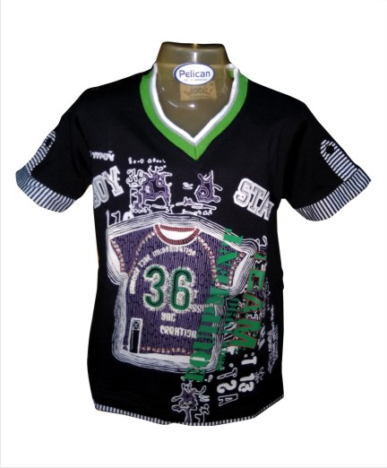 BOY 36 - Black V-neck T-shirt for Kids