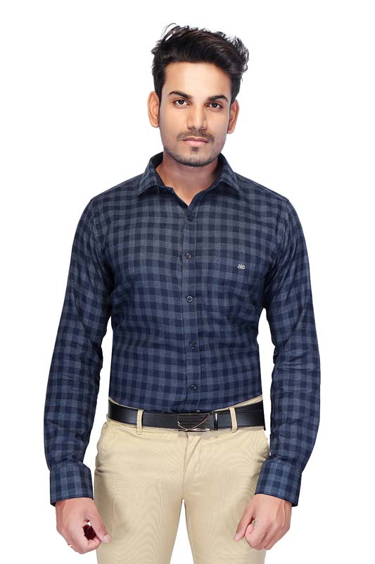 BT MAAN TEX 03-BLUE CHECK FORMAL SHIRT