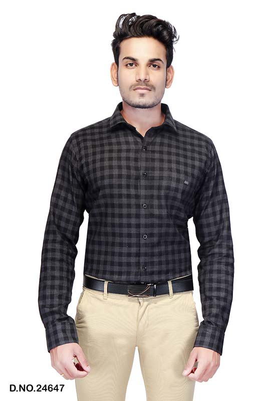 BT MAAN TEX 03-GRAY CHECK FORMAL SHIRT