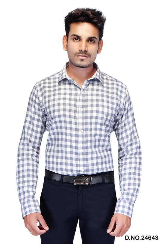 BT MAAN TEX 03-WHITE CHECK FORMAL SHIRT