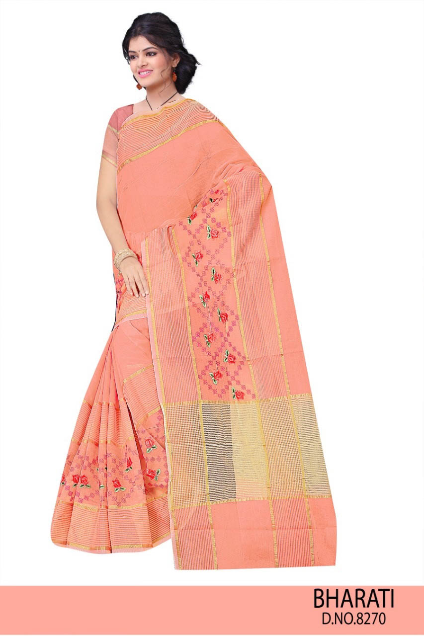 WOMEN SAREE WITH BLOUSE-LIGHT PEACH-DF BHARTI 2019