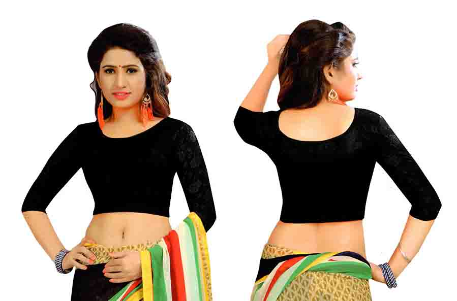 FANCY HC-152-BLACK 3/4 SLEEVES STRETCHABLE FANCY SAREE BLOUSE