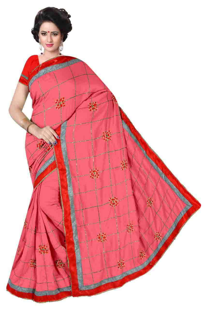 WOMEN SAREE WITH BLOUSE-PINK -DF COLLAR TUNE 03