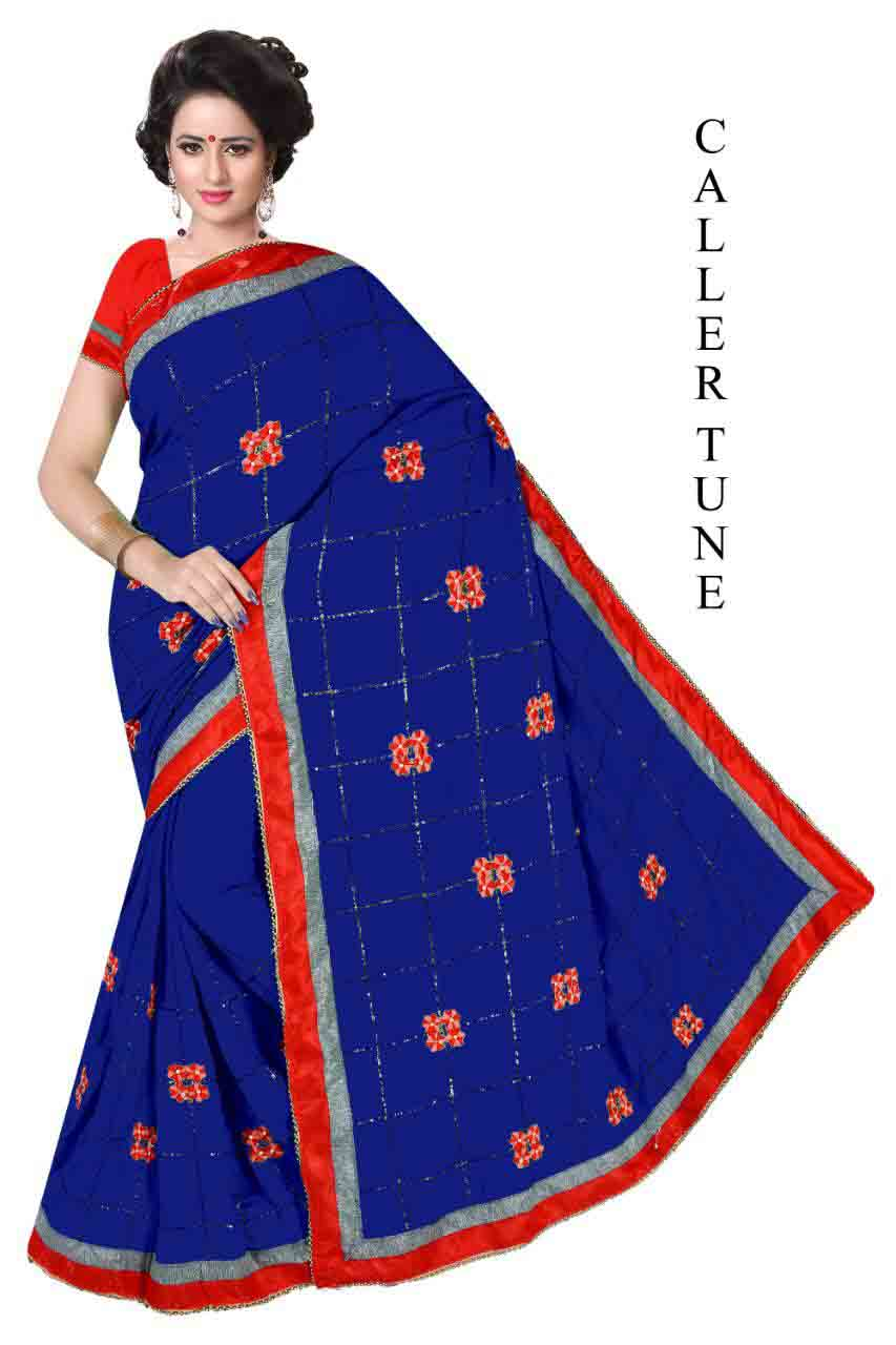 WOMEN SAREE WITH BLOUSE-BLUE -DF COLLAR TUNE 03