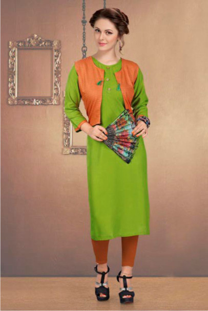 SUF CHX KOTI-GREEN WOMEN KURTI WITH JACKET