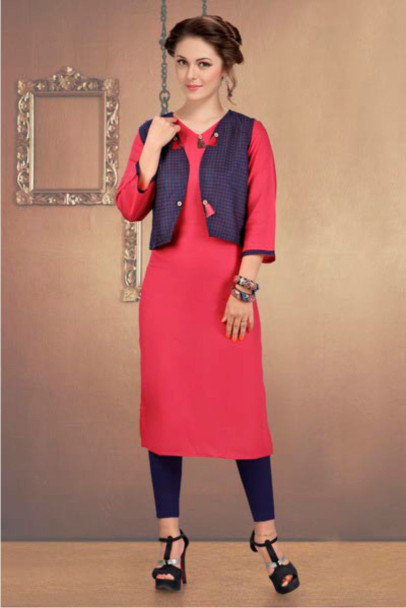 SUF CHX KOTI-PINK/BLACK WOMEN KURTI WITH JACKET