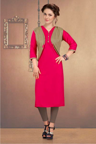 SUF CHX KOTI-PINK WOMEN KURTI WITH JACKET