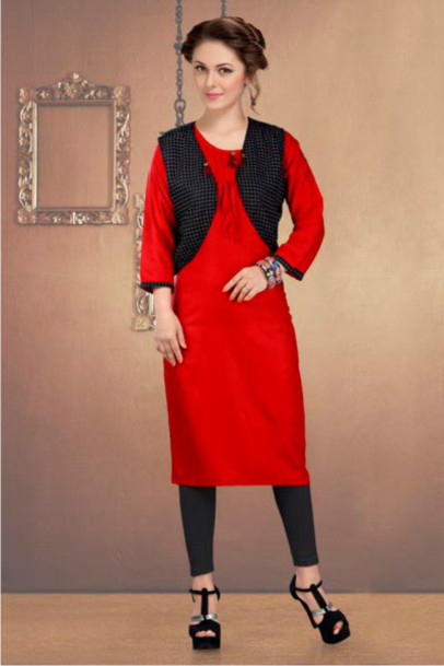 SUF CHX KOTI-RED/BLACK WOMEN KURTI WITH JACKET