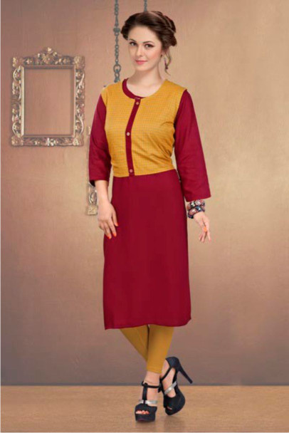 SUF CHX KOTI-RED WOMEN KURTI WITH JACKET