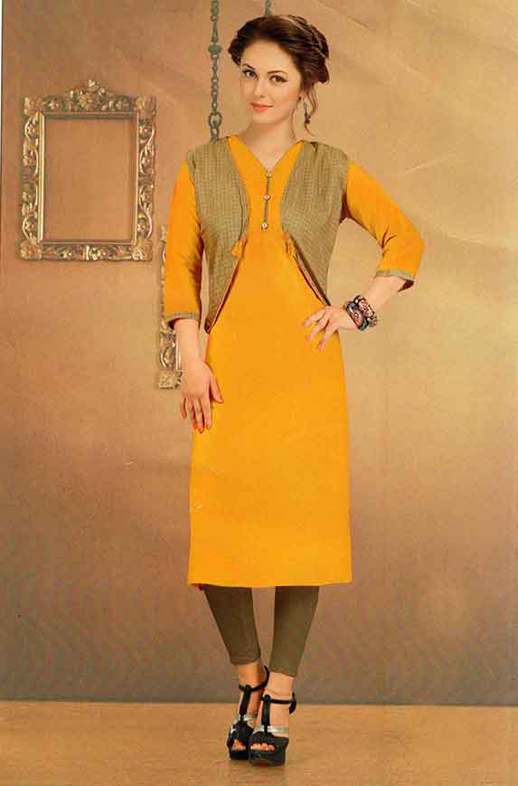 SUF CHX KOTI-YELLOW WOMEN KURTI WITH JACKET