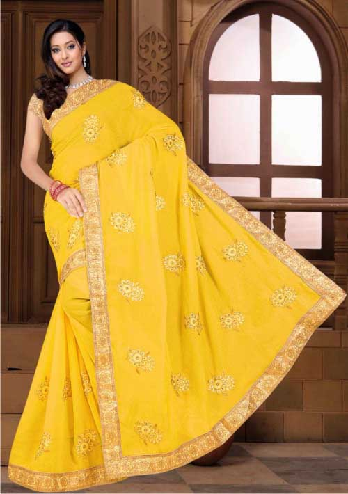 WOMEN SAREE WITH BLOUSE-YELLOW-DF CHITRA 01