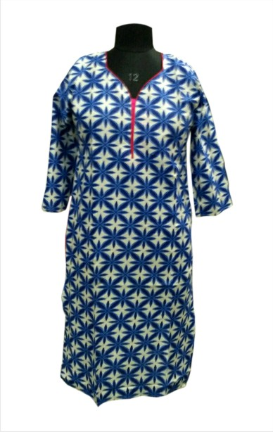 CHITRA D10 - Blue Printed Kurti with Stylish Neck