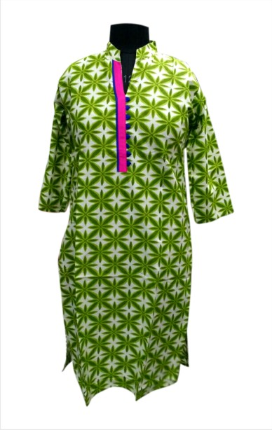 CHITRA D10 - Green Printed Kurti with Stylish Neck