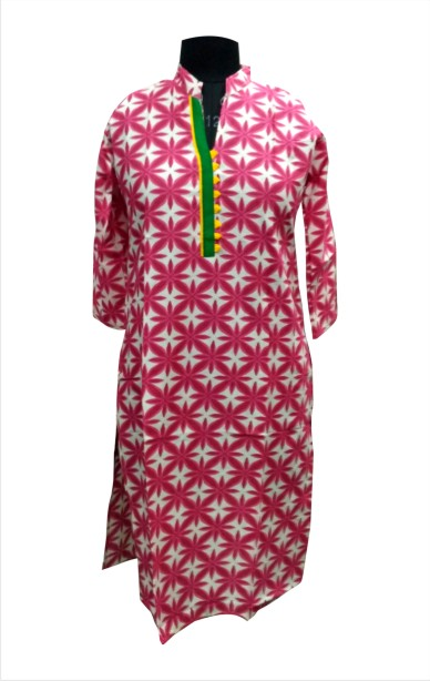 CHITRA D10 - Pink Printed Kurti with Stylish Neck