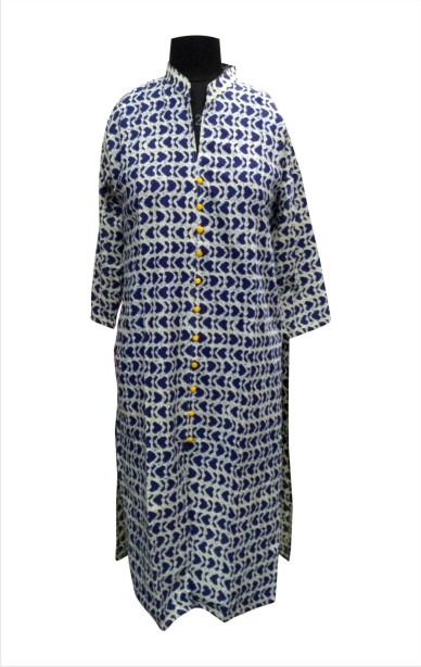 CHITRA D11 - Blue Printed Kurti with Standing Collar