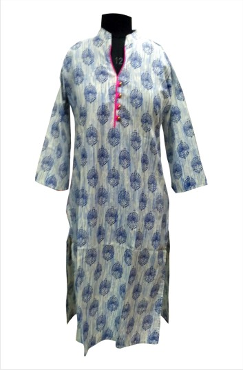 CHITRA D14 - Cream/Blue Printed Kurti