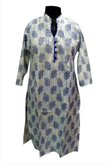CHITRA D15 - Cream/Blue Printed Kurti