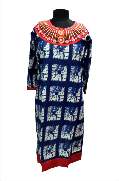CHITRA D24 - Blue Printed Kurti with Beautiful Neck Design