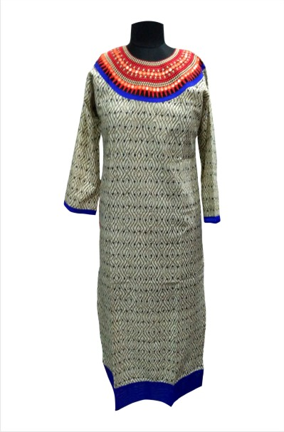 CHITRA D25 - Cream Printed Kurti with Beautiful Neck Design