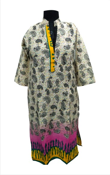 CHITRA D5 - Yellow Printed Standing Collar Kurti with Colourful Bottom