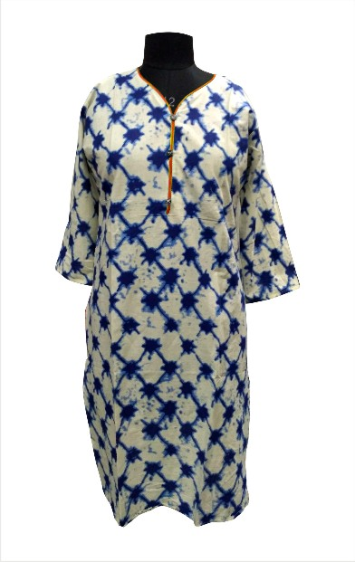 CHITRA D6 - Orange Neck Piping on Printed Kurti