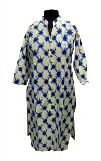 CHITRA D7 - Green/Blue Printed Kurti with Standing Collar