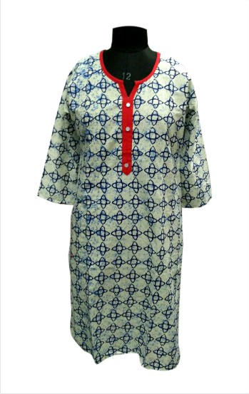 CHITRA D8 - Red Neck Piping on Printed Kurti