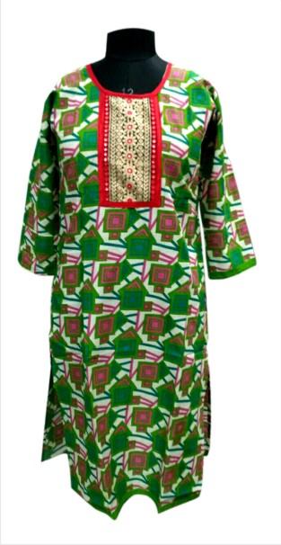 CHITRA DD1 - Green Printed Kurti