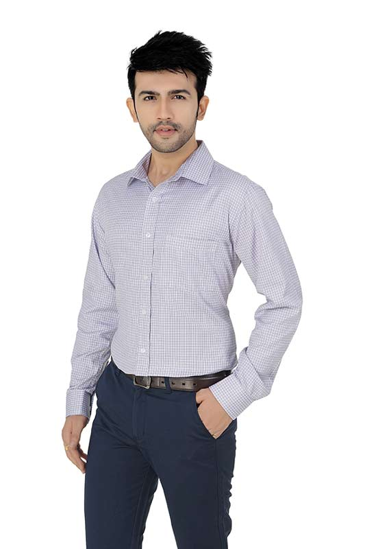White & Pink  Dobby Checks Formal Shirt