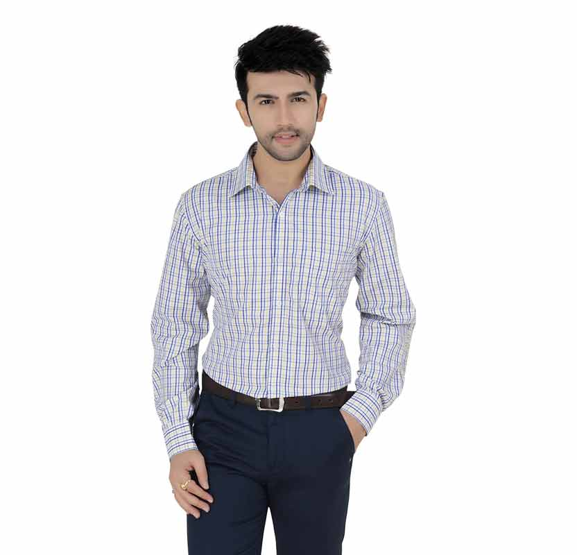 White & Yellow Checks Formal Shirt