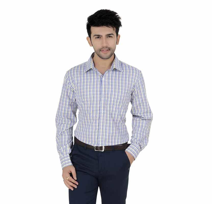 White & Yellow Checks Formal Shirt