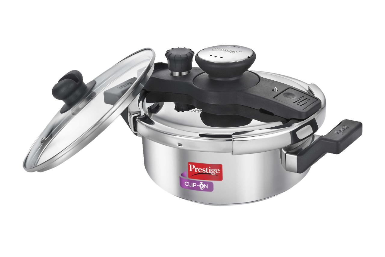 Stainless steel prestige clip on  3 liter cooker