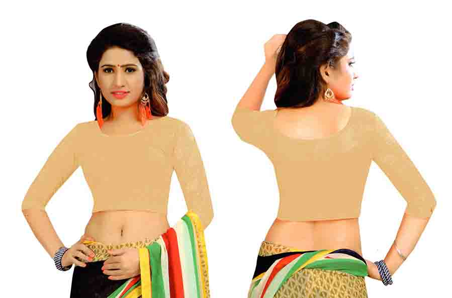 FANCY HC-152-CREAM 3/4 SLEEVES STRETCHABLE FANCY SAREE BLOUSE