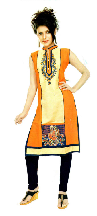 SUF D NO 1184 -ORANGE STYLISH COTTON SLUB WORK KURTI