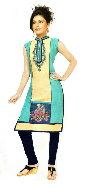 SUF D NO 1184 -SEA GREEN  STYLISH COTTON SLUB WORK KURTI