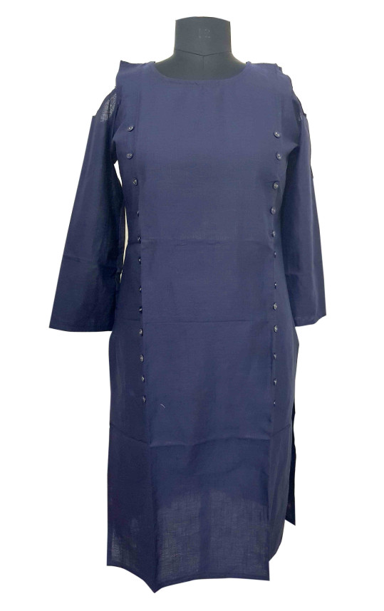 SUF D NO 1484-NAVY STYLISH COTTON DOWN SHOULDER KURTI