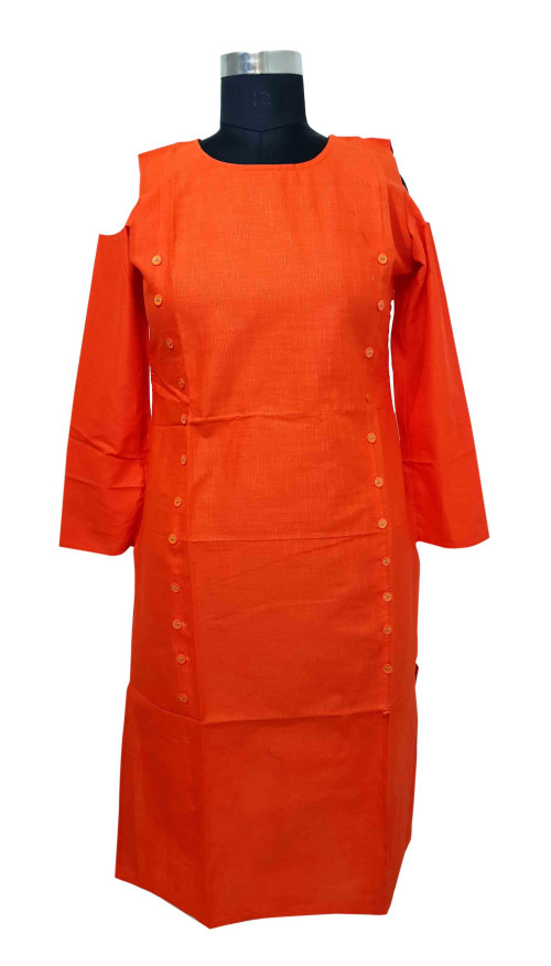 SUF D NO 1484-ORANGE STYLISH COTTON DOWN SHOULDER KURTI