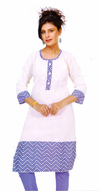 SMC DESIGN 250-BLUE FULL SLEEVES COTTON LINEN KURTI
