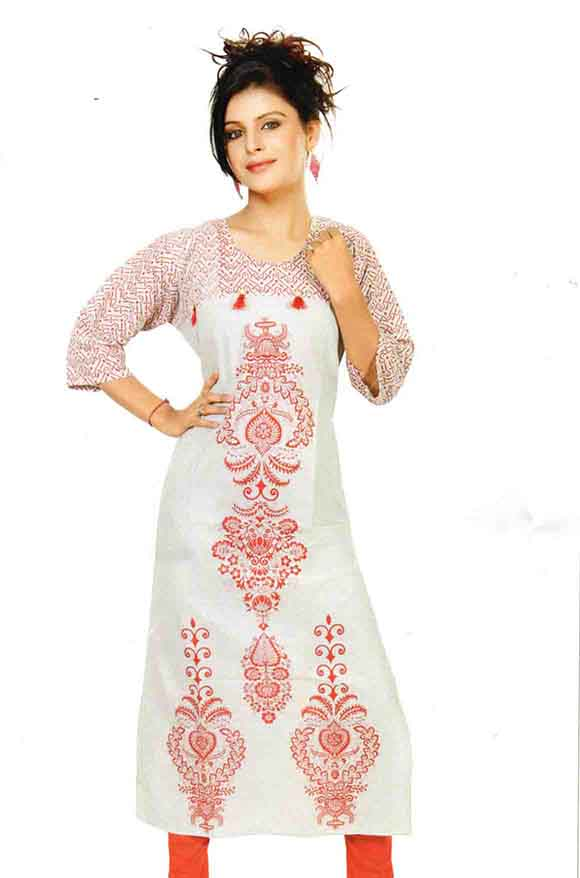 SMC DESIGN 295-D NO 2 FULL SLEEVES COTTON LINEN KURTI