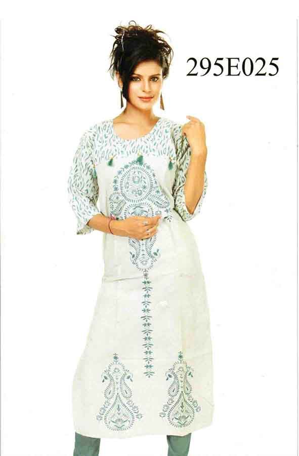 SMC DESIGN 295-D NO 3 FULL SLEEVES COTTON LINEN KURTI