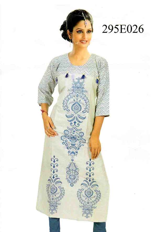 SMC DESIGN 295-D NO 8 FULL SLEEVES COTTON LINEN KURTI