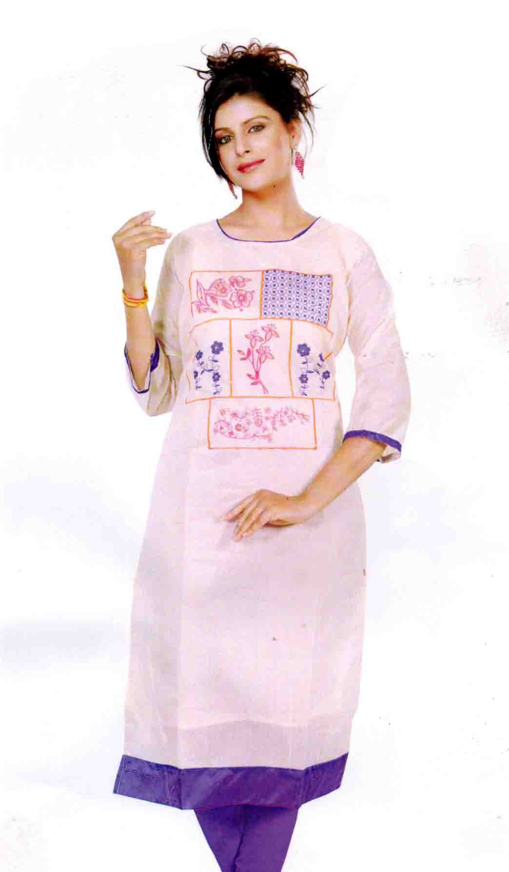 SMC DESIGN 305-CREAM FULL SLEEVES COTTON LINEN KURTI
